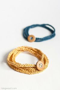 Make a crochet wrap bracelet with this free pattern - there's only 2 types of crochet stitches needed! Great for the men too!