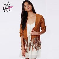 Vogue Fringe Scoop Neck Coat Jacket - Bonny YZOZO Boutique Store