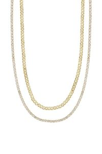 Simple Crystal & Gold Chain Necklace Set �'�42.99