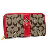 Coach Buckle In Signature Large Red Wallets Outlet coach-outletonline.name