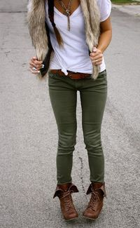 Olive green pants. Clothes Outift for �€� teens �€� movies �€� girls �€� women �€�. summer �€� fall �€� spring �€� winter �€� outfit ideas �€� dates �€� parties Polyvore :) Catalina Chr...