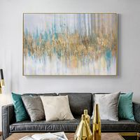 Gold Leaf Acrylic Painting On Canvas original art modern abstract blue painting Large wall art framed painting home decor cuadros abstractos $119.00