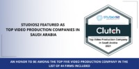 The proudest moment of studio52 is to be listed in Clutch's list of Top Video Production Companies in Saudi Arabia. Know more - https://bit.ly/3gG49Xf