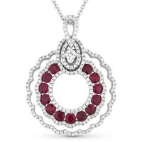 1.78ct Round Cut Ruby & Diamond Pave Statement Pendant & Chain Necklace in 14k White Gold