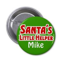Santas little helper christmas pinback buttons