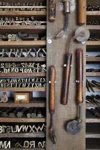 Letter working tools for leather or for branding? Beautiful even though not certain what they would hav been used for . Image via The Art of Fiction
