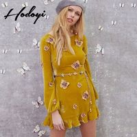 Vogue Sweet Slimming Scoop Neck High Waisted Accessories Butterfly Fall 9/10 Sleeves Dress - Bonny YZOZO Boutique Store