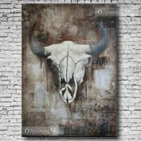 Buffalo Hand Painted On Canvas Oil Painting