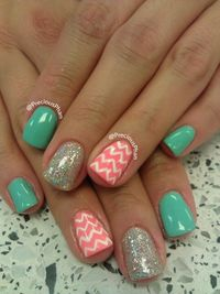 chevron nails, nails chevron and mint coral.