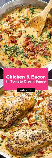 Who can turn down a nourishing dinner that pairs both chicken AND bacon? Chicken breasts seasoned with Italian spices get seared tender and drenched is a cheesy