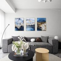 Framed painting set of 3 wall art abstract mountain sea wave blue Large Wall Art Paintings on Canvas gold painting 3 piece wall art pictures $198.00