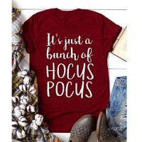 Female Tee Shirt Halloween Pumpkin Tshirt T Tops Print Letter T-shirts It's Just A Bunch of Hocus Pocus Tee Top $16.99