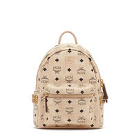 MCM Mini Stark Side Odeon Studded Backpack In Beige