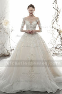 Beaded Lace Ball Gown Wedding Dress with Sleeves
