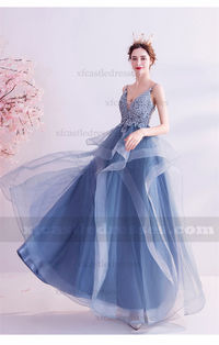 Blue Lace Prom Dresses with Ruffles TB305