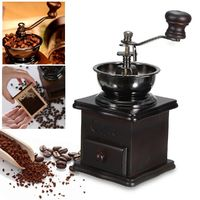 Manual Coffee Bean Grinder Spice Herbs Vintage Retro Hand Grinding Tool Wooden Burr Mill