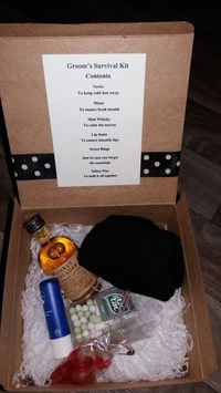 A quirky gift for the groom on his wedding day, a grooms survival kit. Each item has been carefully selected to help the groom on his way to