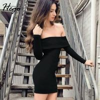 Elegant Attractive Slimming Off-the-Shoulder Fall 9/10 Sleeves Formal Wear Dress Basics - Bonny YZOZO Boutique Store