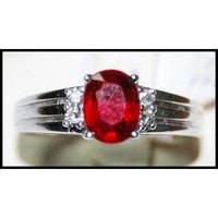 Oval Red Ruby and Diamond Ring Unique 18K White Gold [R0126]