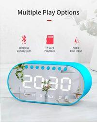 LyRay Wireless Bluetooth 4.2 Portable Speaker Double Alarm Clock FM Radio Bass Double Speaker