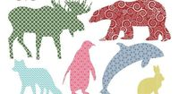 Patterned Arctic Animal Silhouette PNGs // by LittleLlamaShoppe, $4.00