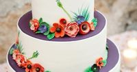 A whimsical wedding cake to complement one couple's Tuscan-inspired nuptials.