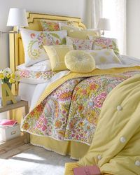 "Whole set is a little much but Love the yellow square with white scroll border. Saw these a year ago and was just reminded how cute they are! ""Sunbeam"" Bed Linens at Horchow."