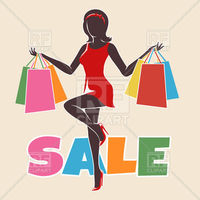 Shopping woman silhouette drawn in retro style vector image