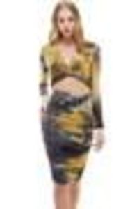 Deep V Twisted Front Top and Ruched Fitted Skirt Set