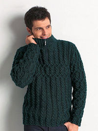 ZIP COLLAR Sweater for men free knitting pattern
