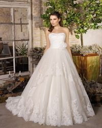 Charming A-line Strapless Beading Lace Hand Made Flowers Sweep/Brush Train Tulle Wedding Dresses - Elegant Evening Dresses|Charming Bridal Gowns 2016|Demure Prom Dresses