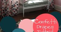 Polka dot drapes/ Confetti drapes tutorial girls room! Pink and Navy remodelaholic.com #confetti #polka dots #drapes