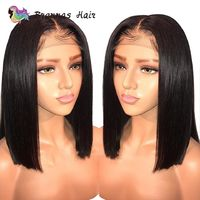 Brazilian straight short bob wig lace front human hair wig bleached knots pre plucked with baby hair 8-16inch for women $125.25