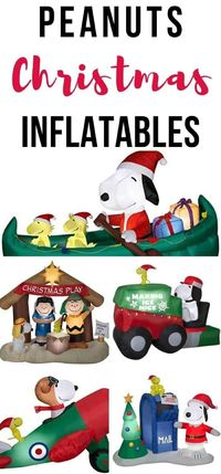 Decorate your lawn with a fun assortment of Peanuts Christmas Inflatables and let Charlie, Snoopy and friends bring a hefty dose of Christmas cheer to your front yard.