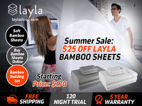 This Summer, get an amazing offer on supportive Bamboo Bedsheets. Get $25 OFF with free shipping, 120 Night Trial and 5 Year Warranty on Bamboo Sheets. Layla Bamboo Sheets are naturally cool and clean. Order Now!