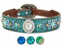 Turquoise Blue Leather Dog Collar with Swarovski Crystal bling | Western Dog Collar for Small to Large Dog Breeds | Hermann Oak Leather $165.00