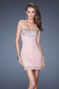 Fitted Beaded Pink Bust Blush Sexy Short Prom Dresses Cheap  http://www.2014partydresssale.com/