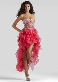 Red Strapless Sheer Jeweled Bodice Ruffled High Low Organza Dress
