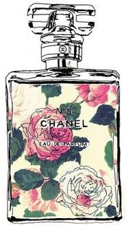 illustrated chanel perfume bottle with floral background