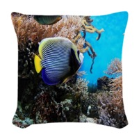Underwater View Woven Throw Pillow