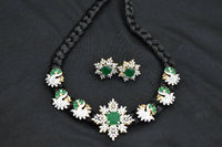 Indian black thread necklaces studs with American diamond . $100.00
