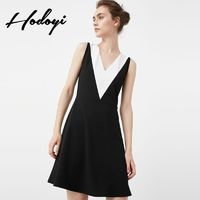 Must-have Vogue Solid Color Slimming A-line V-neck Sleeveless High Waisted Black & White Summer Dress - Bonny YZOZO Boutique Store