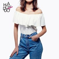 2017 summer school of new style sexy strapless neck t shirt - Bonny YZOZO Boutique Store