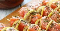 """Grilled Salmon Kebabs �€""""SO good, serve this with a big salad for a light, healthy meal!"""