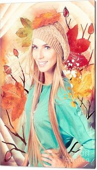 Fashion Wall Art | Abstract photo illustration of a beautiful blond female fashion model posing in front of a hand drawn autumn background with trees and falling leaves. Beauty in nature | #fashionart #creativefashionphotography #autumnfashion #clothingar...