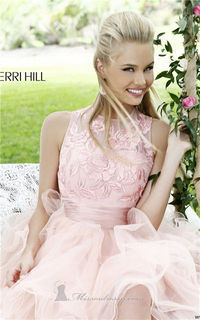 Short Sherri Hill 21219 Lace Floral Applique Layered Prom Dresses