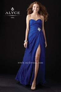 Royal floor length side slit prom gown 2015 by Alyce Paris 35442