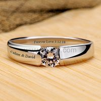 0.3 Carat Diamond Mens Wedding Band Pt Plated with Custom Name by Gullei.com