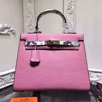 Hermes Kelly Bag Serpentine Leather Gold Hardware In Pink