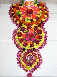 Rangoli patterns in India that have one side emblem is called ekalingatobhadra whereas rangolis that have eight auspicious emblems are called ashtalingatobhadra and sarvatobhadra is the name given to the pattern which has emblems drawn on all sides. In th...